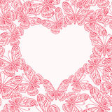 Valentines day card with heart from butterflies. Seamless p. Valentines day card with heart from pink butterflies. Seamless pattern Stock Photography