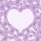Valentines day card with heart from butterflies. Seamless. Valentines day card with heart from purple butterflies. Seamless pattern Stock Photo