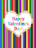 Valentines day card with heart of colored pencils Stock Images