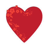 Valentines day card. Heart with floral border Royalty Free Stock Photo