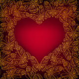 Valentines day card with heart from golden butterflies. Stock Photo