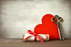 Valentines Day card with heart, key and love letter Royalty Free Stock Photography