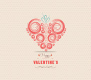 Valentines day card with heart ornament Stock Images