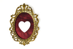 Valentines Day card with heart ornament and vintage picture frame Stock Photography