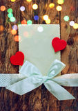 Valentines day card, heart and ribbon Royalty Free Stock Images