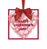 Valentines Day Card. Heart shape of pink rose petals with red bow isolatedand on a white background. Vector template. Royalty Free Stock Image