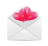 Valentines Day Card with Heart Shaped Balloons, Royalty Free Stock Image