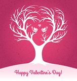 Valentines Day card with heart shaped tree and 2 lovebirds. Happy Valentines Day greeting card with heart shaped tree and 2 lovebirds. Vector illustration Royalty Free Stock Images