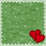 Valentines day card with hearts. On the abstract green background Royalty Free Stock Photography