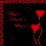 Valentines day card with hearts. On the abstract black background Royalty Free Stock Photo