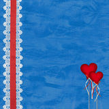 Valentines day card with hearts. On the abstract blue background Royalty Free Stock Photography