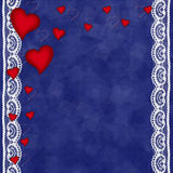 Valentines day card with hearts. On the abstract blue background Stock Photography