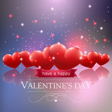 Valentines day card with hearts ans sparkles Royalty Free Stock Photos