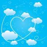 Valentines day card with hearts, arrow and clouds. Valentines day card with hearts, arrow and blue volumetric clouds. Trail of Cupid's arrow. Light blue Vector Illustration