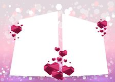 Valentines Day Card with hearts geometric triangles 3d and blurred soft focus bokeh of bright pink and purple background stock illustration