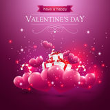 Valentines day card with hearts presents and sparkles Royalty Free Stock Images