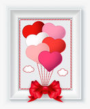 Valentines day card with hearts and red bow in white frame Royalty Free Stock Images