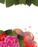 Valentines Day card with hearts and roses Royalty Free Stock Photo