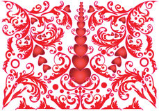 Valentines Day Card with Hearts and Swirls Stock Photography