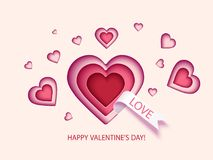 Valentines Day card with hearts Royalty Free Stock Images
