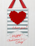 Valentines day card with hearts and words of love Stock Images