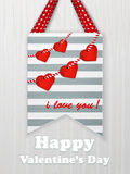 Valentines day card with hearts and words of love Royalty Free Stock Image
