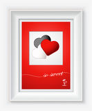 Valentines day card with hearts and words of love in white frame. EPS 10 Stock Image
