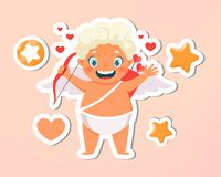 Greeting card. Holiday, event, festive letter. Beautiful happy cupid flying in clouds. Blonde angel holding arrow with vector illustration