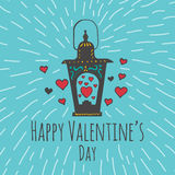 Valentines Day card with illustrated Love lamp and heart Stock Photography