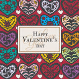 Valentines Day card with illustrated ornamental Heart Stock Photography