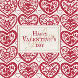 Valentines Day card with illustrated ornamental Heart Royalty Free Stock Images
