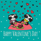 Valentines Day card with illustrated raccoon couple Stock Photos
