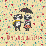 Valentines Day card with illustrated raccoon couple and heart rain Stock Photography