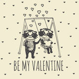 Valentines Day card with illustrated raccoon couple on swing Royalty Free Stock Photography