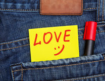 Valentines day card in jeans pocket Royalty Free Stock Photography