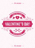 Valentines day card with label typography retro style on hearts background for banner sale. Poster,  promotion, stamp, label, tag, decoration, romantic quote Stock Images