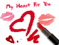 Valentines Day card with lipstick inscription Royalty Free Stock Photography