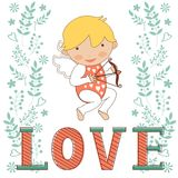 Valentines day card with little amour Stock Image