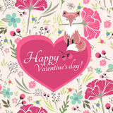 Valentines day card with little fox. Floral valentines day card with cute little fox. Floral background with heart Stock Photo
