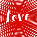 Valentines day card love text design heart card red halftone dots radiall vector illustration Royalty Free Stock Image