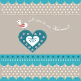 Valentines day card. With lovely bird Royalty Free Stock Images