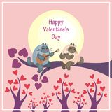 Valentines Day card with moon and cats Stock Image