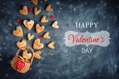 Valentines day card. Mother`s day, Womans day. Cookies in Shape of Hearts for Valentine`s Day. Stock Image