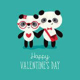 Valentines day card pandas in love on mint Stock Image