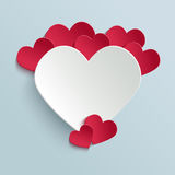 Valentines day card with paper cut heart Royalty Free Stock Images