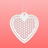 Valentines Day card. Paper heart Flower of life on a patterned background vector illustration