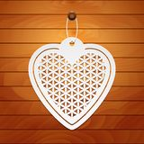 Valentines Day card. Paper heart Flower of life on wood background royalty free illustration