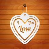 Valentines Day card. Paper heart on wood background. A great gift to your favorite royalty free illustration