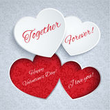 Valentines Day card with paper hearts Royalty Free Stock Images