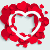 Valentines Day card with paper hearts Stock Photography